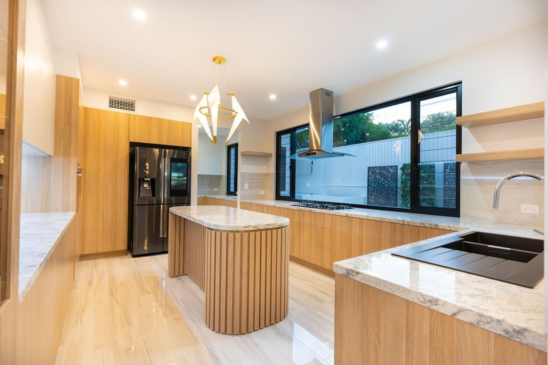 Custom designed bespoke marble kitchen