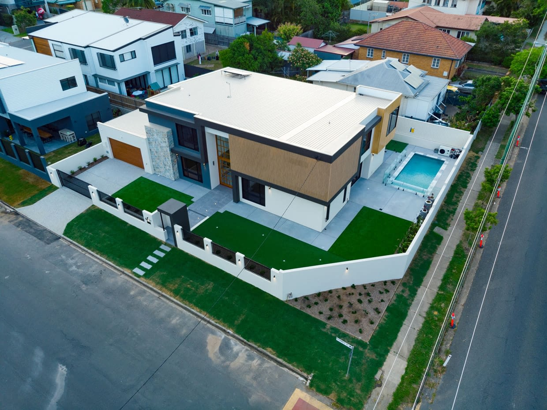 Areal shot of Custom Designed home