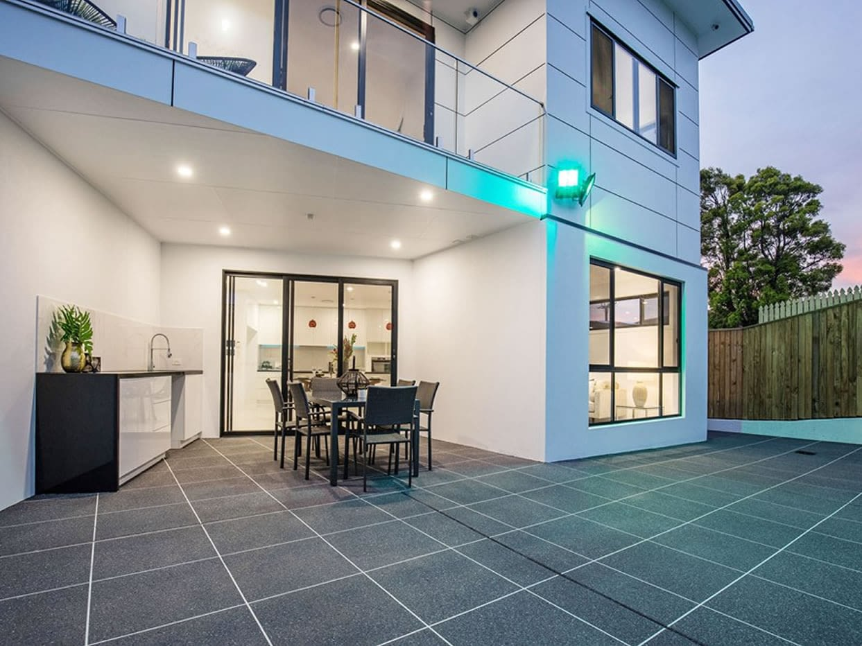 Facade of Custom luxury new home built in Nevern